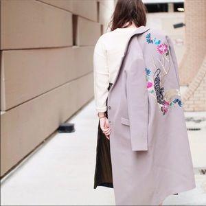 Topshop Mauve Long Coat 79% Wool
